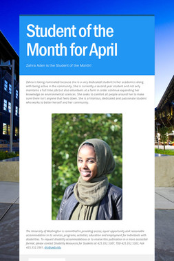 Student of the Month for April