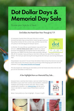 Dot Dollar Days & Memorial Day Sale