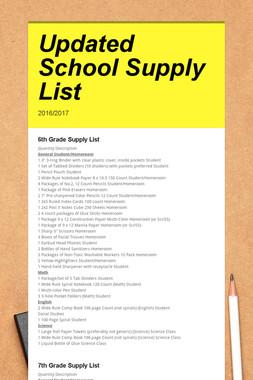 Updated School Supply List