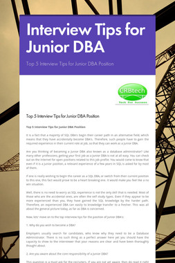 Interview Tips for Junior DBA