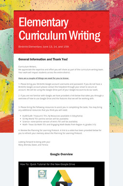 Elementary Curriculum Writing