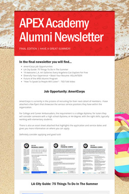 APEX Academy Alumni Newsletter