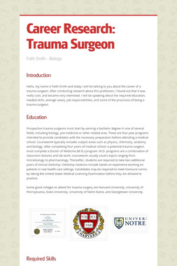 Career Research: Trauma Surgeon