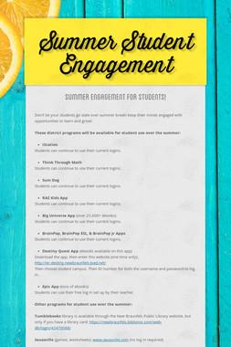 Summer Student Engagement