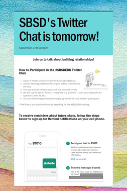 SBSD's Twitter Chat is tomorrow!