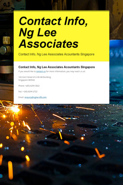 Contact Info, Ng Lee Associates