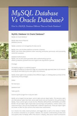 MySQL Database Vs Oracle Database?