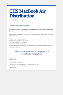 CHS MacBook Air Distribution