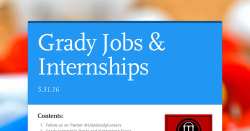 Grady Jobs & Internships | Smore Newsletters for Education