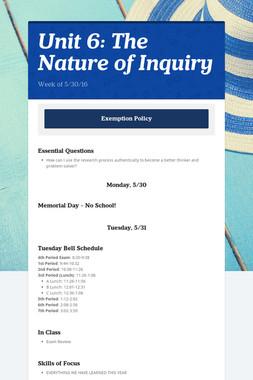 Unit 6: The Nature of Inquiry