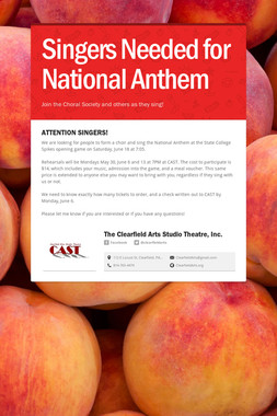 Singers Needed for National Anthem