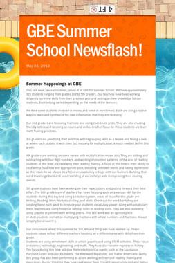 GBE Summer School Newsflash!