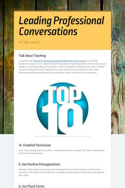 Leading Professional Conversations