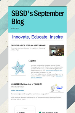 SBSD's September Blog
