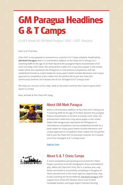 GM Paragua Headlines G & T Camps