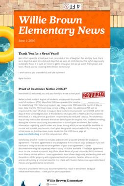 Willie Brown Elementary News