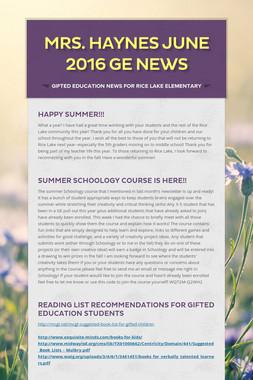 Mrs. Haynes June 2016 GE News