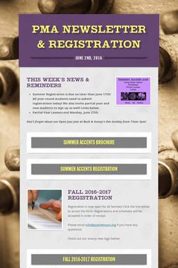 PMA Newsletter & Registration