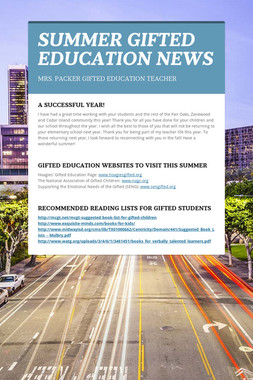 SUMMER GIFTED EDUCATION NEWS