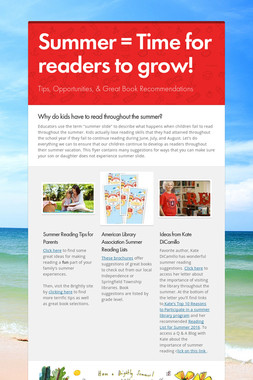 Summer = Time for readers to grow!