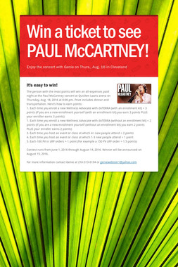 Win a ticket to see PAUL McCARTNEY!