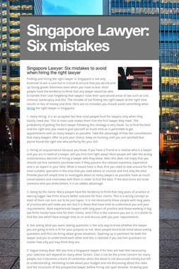 Singapore Lawyer: Six mistakes