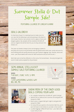 Summer Stella & Dot Sample Sale!