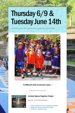 Thursday 6/9 & Tuesday  June 14th