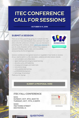 ITEC Conference Call for Sessions
