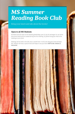 MS Summer Reading Book Club