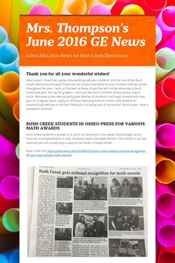 Mrs. Thompson's  June 2016 GE News