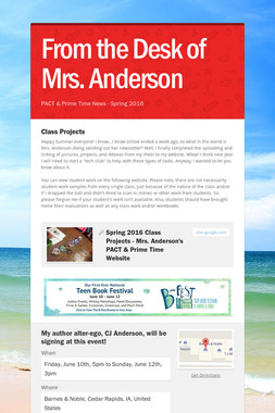 From the Desk of Mrs. Anderson