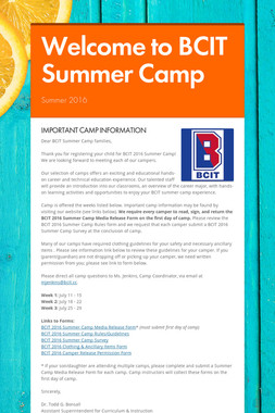 Welcome to BCIT Summer Camp