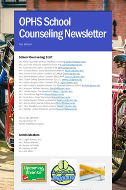 OPHS School Counseling Newsletter