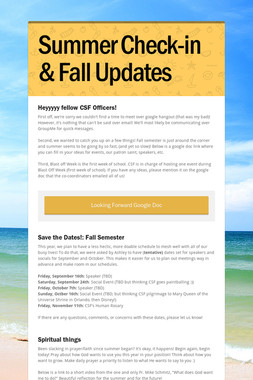 Summer Check-in & Fall Updates