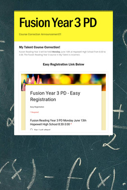 Fusion Year 3 PD