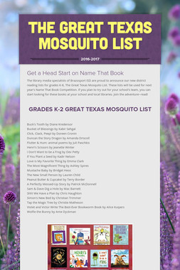 The Great Texas Mosquito List