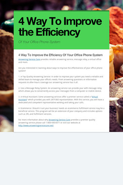 4 Way To Improve the Efficiency