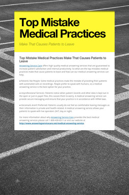 Top Mistake Medical Practices