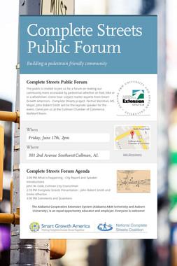 Complete Streets Public Forum