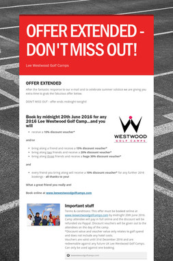 OFFER EXTENDED - DON'T MISS OUT!