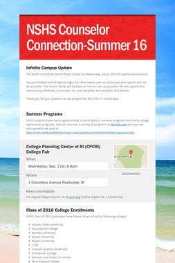 NSHS Counselor Connection-Summer 16