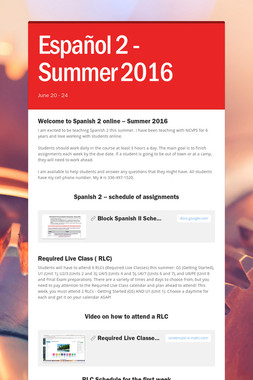 Español 2 - Summer 2016