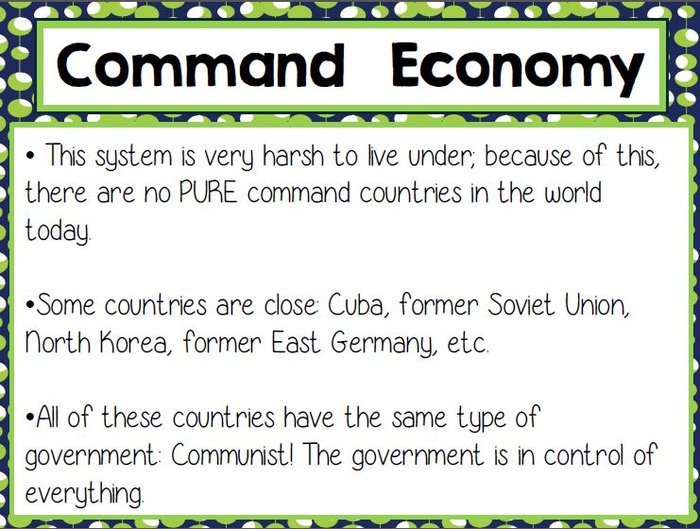 command economy in a sentence