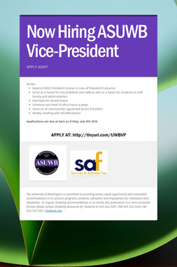 Now Hiring ASUWB Vice-President