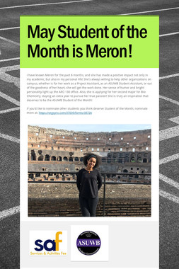 May Student of the Month is Meron!