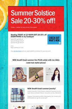 Summer Solstice Sale 20-30% off!