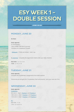 ESY Week 1 - Double Session