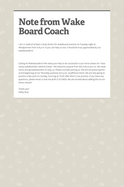 Note from Wake Board Coach