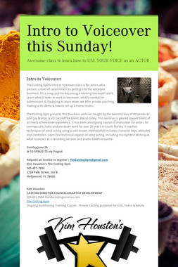 Intro to Voiceover this Sunday!